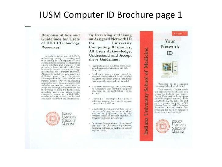 IUSM Computer ID Brochure page 1<br />
