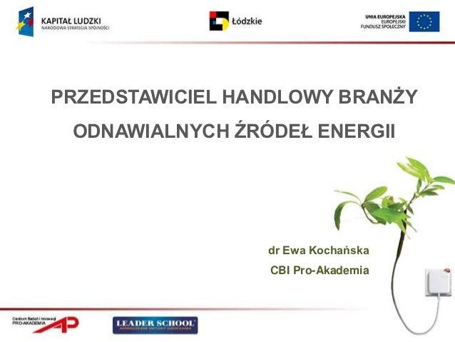 PRZEDSTAWICIEL HANDLOWY BRANŻY ODNAWIALNYCH ŹRÓDEŁ ENERGII                 dr Ewa Kochańska                 CBI Pro-Akademia
