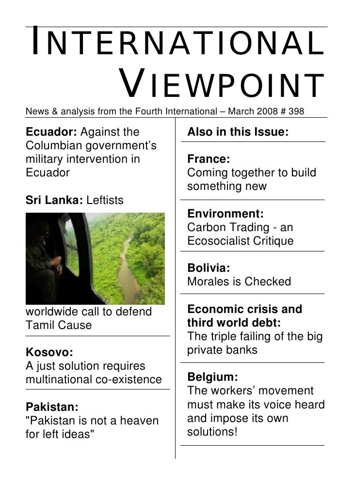 INTERNATIONAL     VIEWPOINT News & analysis from the Fourth International – March 2008 # 398  Ecuador: Against the        ...