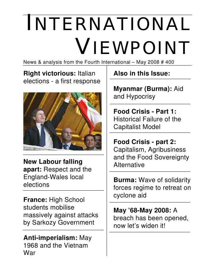 INTERNATIONAL     VIEWPOINT News & analysis from the Fourth International – May 2008 # 400  Right victorious: Italian     ...
