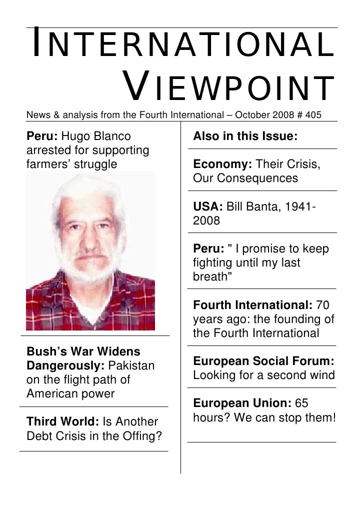 INTERNATIONAL      VIEWPOINT News & analysis from the Fourth International – October 2008 # 405  Peru: Hugo Blanco        ...