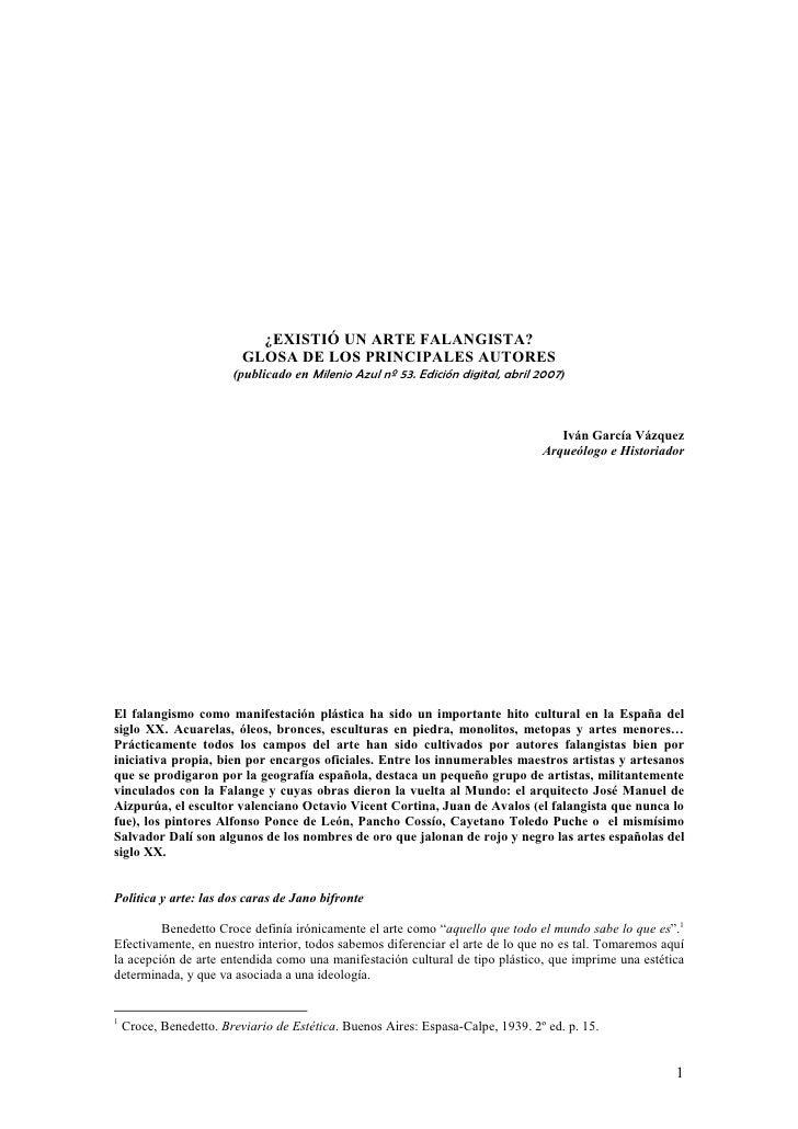 ¿EXISTIÓ UN ARTE FALANGISTA?                          GLOSA DE LOS PRINCIPALES AUTORES                        (publicado e...
