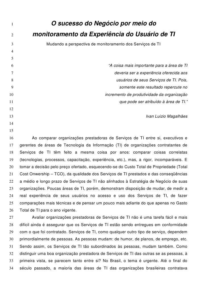O sucesso do negócio por meio do monitoramento da experiência do usuário de ti por Ivan Luízio Magalhães