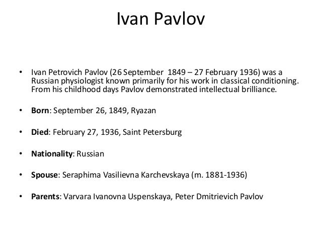 What is the best website for a research paper on Ivan Pavlov and his experiment on dogs?