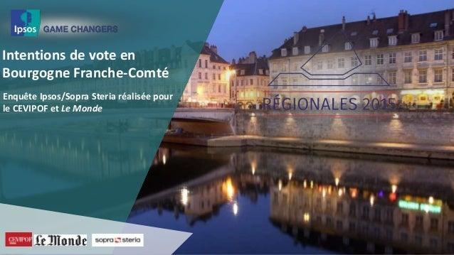 Intentions de vote en Bourgogne Franche-Comté Enquête Ipsos/Sopra Steria réalisée pour le CEVIPOF et Le Monde