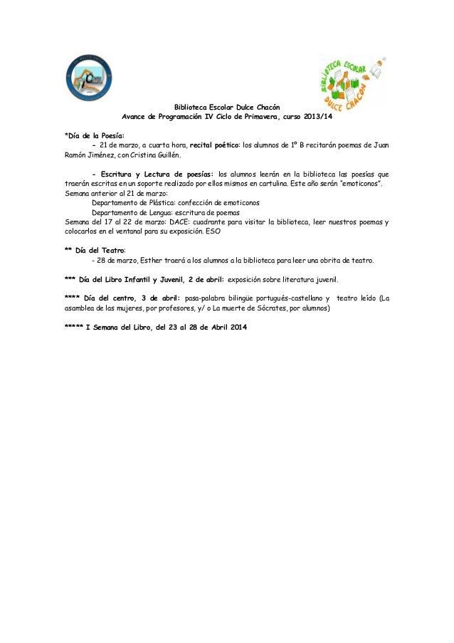 IV Ciclo de Primavera - Biblioteca Dulce Chacón. IES Cristo del Rosario
