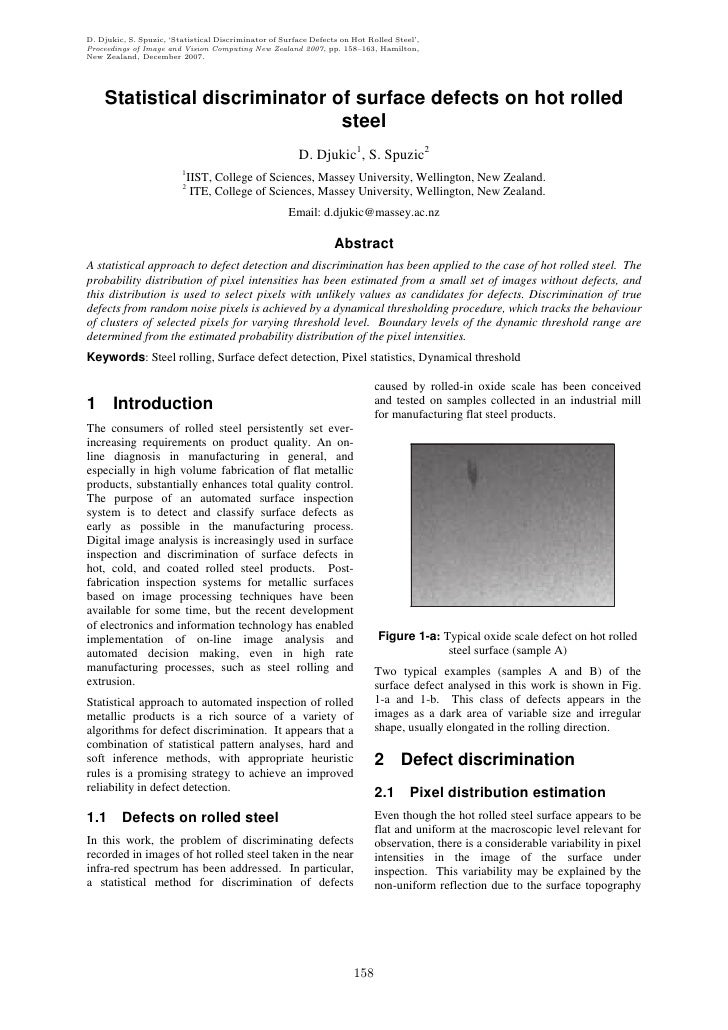 D. Djukic, S. Spuzic, 'Statistical Discriminator of Surface Defects on Hot Rolled Steel', Proceedings of Image and Vision ...