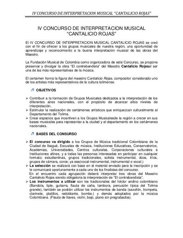 """IV CONCURSO DE INTERPRETACION MUSICAL """"CANTALICIO ROJAS""""       IV CONCURSO DE INTERPRETACION MUSICAL                 """"CANT..."""