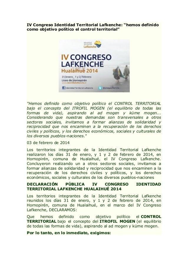 """IV Congreso Identidad Territorial Lafkenche: """"hemos definido como objetivo político el control territorial""""  """"Hemos defini..."""