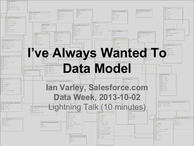 I've Always Wanted To Data Model Ian Varley, Salesforce.com Data Week, 2013-10-02 Lightning Talk (10 minutes)