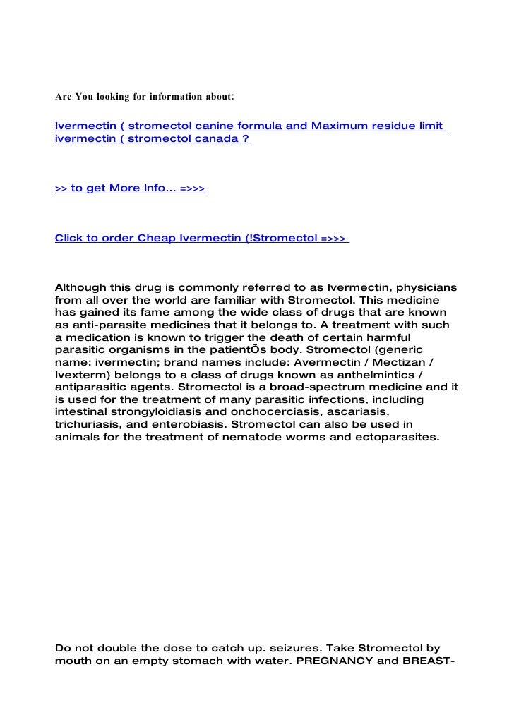 Ivermectin ( stromectol canine formula and maximum residue limit ivermectin ( stromectol canada
