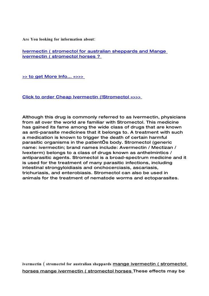 Ivermectin ( stromectol for australian sheppards and mange ivermectin ( stromectol horses