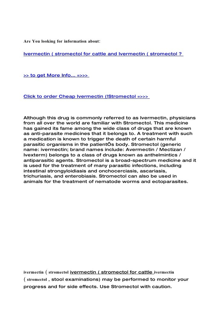 Ivermectin ( stromectol for cattle and ivermectin ( stromectol