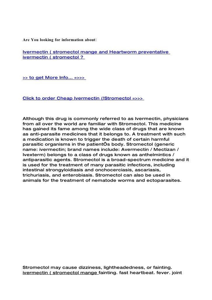 Ivermectin ( stromectol mange and heartworm preventative ivermectin ( stromectol