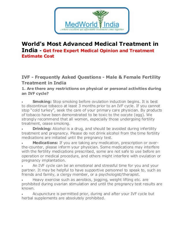 World's Most Advanced Medical Treatment in India - Get free Expert Medical Opinion and Treatment Estimate Cost  IVF - Freq...