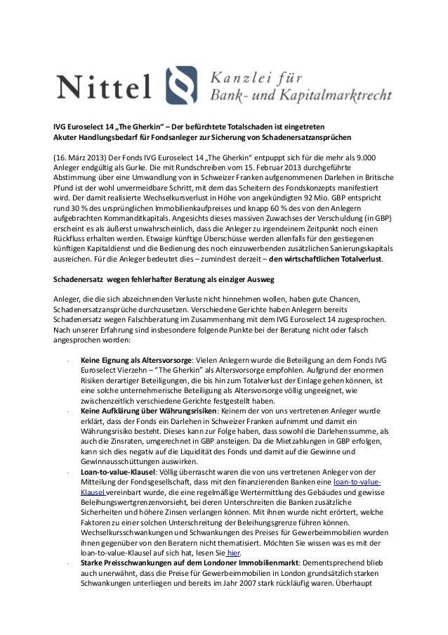 """IVG Euroselect 14 """"The Gherkin"""" – Der befürchtete Totalschaden ist eingetretenAkuter Handlungsbedarf für Fondsanleger zur ..."""