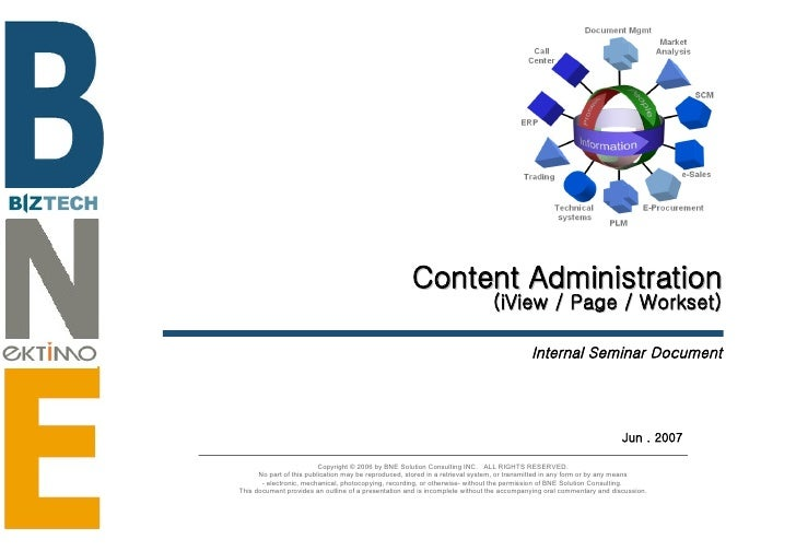 Content Administration (iView / Page / Workset) Internal Seminar Document Jun . 2007 Copyright © 2006 by BNE Solution Cons...