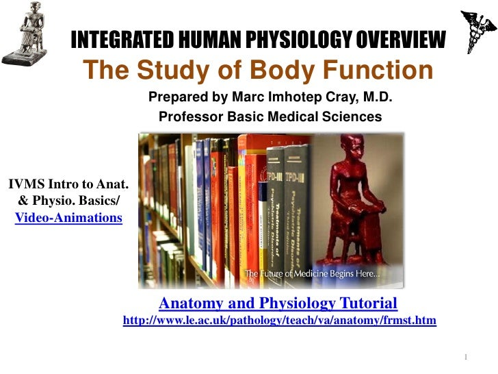INTEGRATED HUMAN PHYSIOLOGY OVERVIEW           The Study of Body Function                      Prepared by Marc Imhotep Cr...