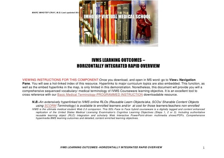 MARC IMHOTEP CRAY, M.D./Last updated 06-08-12                                                  IVMS LEARNING OUTCOMES –   ...