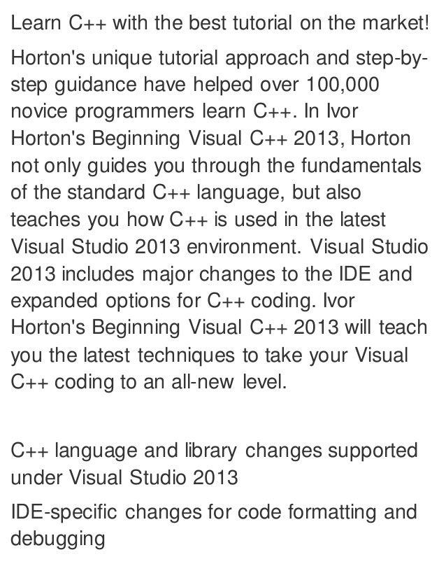 visual studio 2012 c tutorial pdf free download