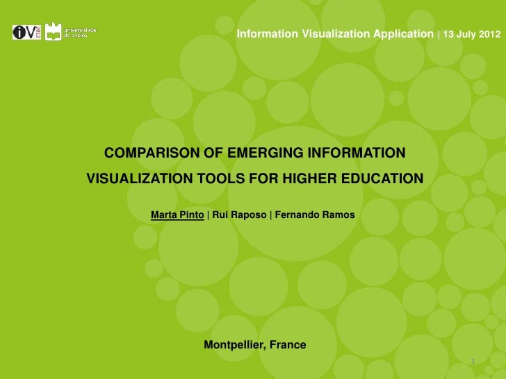Information Visualization Application | 13 July 2012  COMPARISON OF EMERGING INFORMATIONVISUALIZATION TOOLS FOR HIGHER EDU...