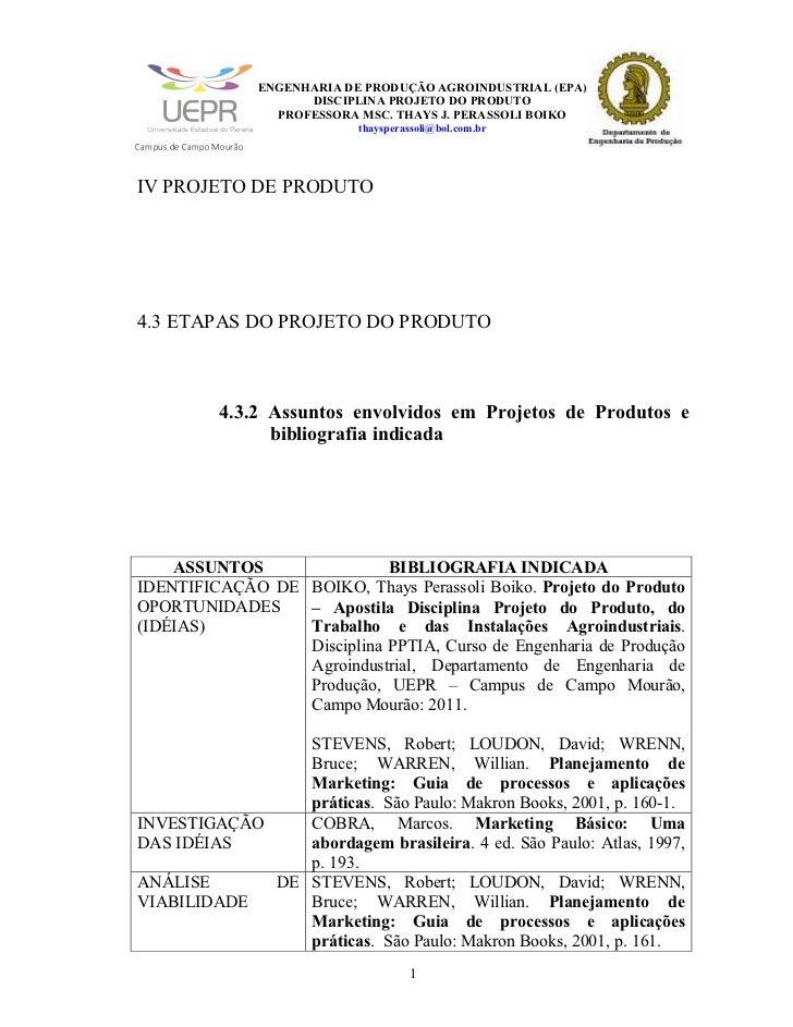 IV PROJETO DO PRODUTO - Hiperlink iii - ASSUNTOS ENVOLVIDOS E BIBLIOGRAFIA INDICADA - Slides de Aulas