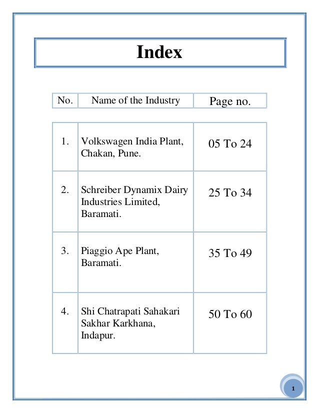 1 Index No. Name of the Industry Page no. 1. Volkswagen India Plant, Chakan, Pune. 05 To 24 2. Schreiber Dynamix Dairy Ind...