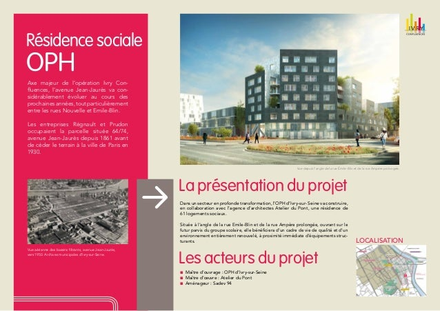 Résidence sociale  OPH  Axe majeur de l'opération Ivry Confluences, l'avenue Jean-Jaurès va considérablement évoluer au co...