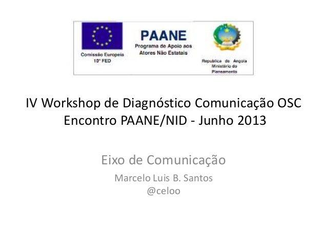 IV Workshop de Diagnóstico Comunicação OSC Encontro PAANE/NID - Junho 2013 Eixo de Comunicação Marcelo Luis B. Santos @cel...