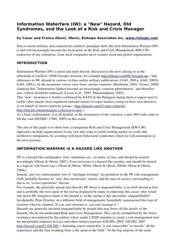 Information Warfare Risk and Crisis Management