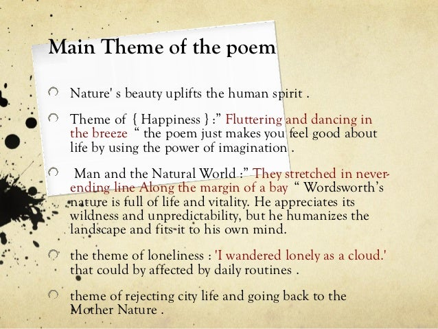 Spiritual Nature Poems Main Theme of The Poem Nature