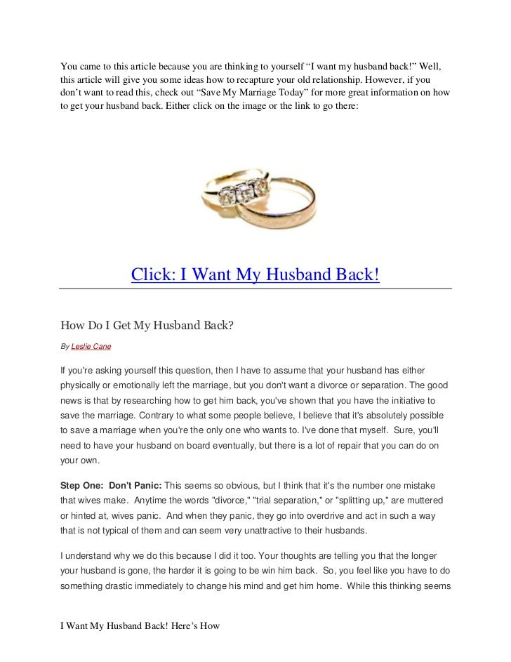 how to get your separated husband back