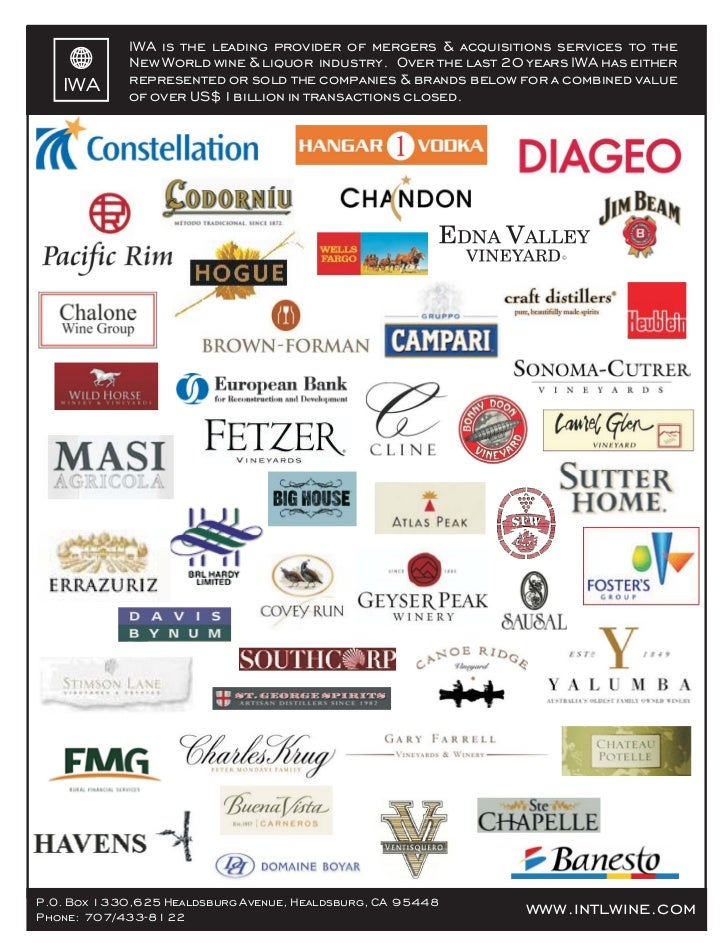 IWA is the leading provider of mergers & acquisitions services to the             New World wine & liquor industry. Over t...
