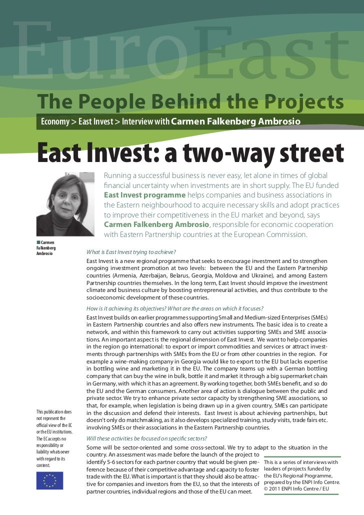 EuroThe People Behind the Projects  Economy > East Invest > Interview with Carmen Falkenberg AmbrosioEast Invest: a two-wa...