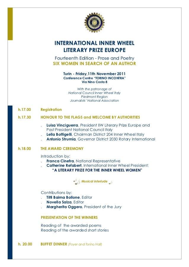 INTERNATIONAL INNER WHEEL                      LITERARY PRIZE EUROPE                   Fourteenth Edition - Prose and Poet...