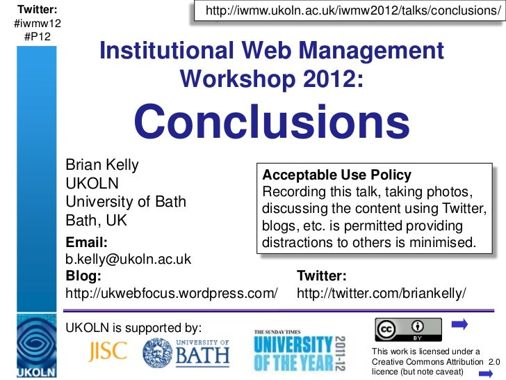 IWMW 2012 conclusions