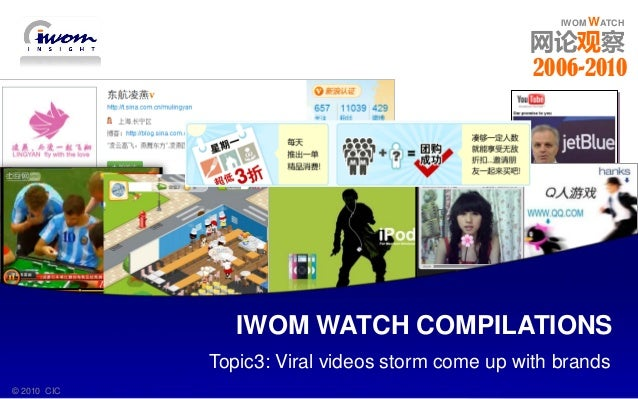 IWOM WATCH 2006 - 2010© 2010 CIC IWOM WATCH IWOM WATCH 网论观察 Topic3: Viral videos storm come up with brands IWOM WATCH COMP...