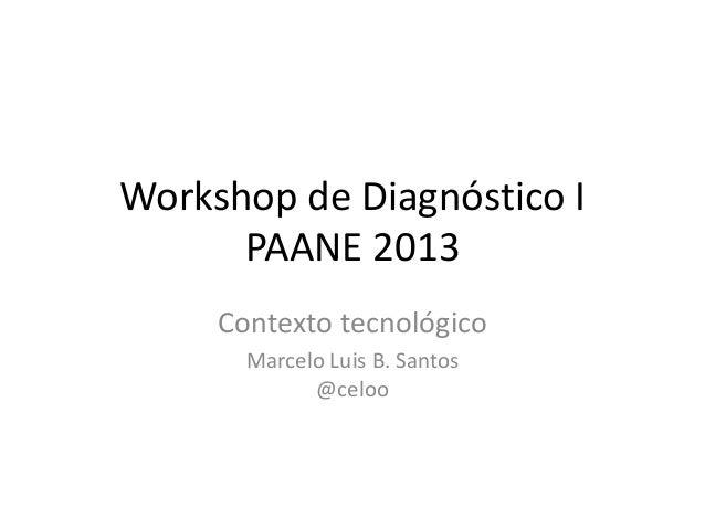 Workshop de Diagnóstico IPAANE 2013Contexto tecnológicoMarcelo Luis B. Santos@celoo
