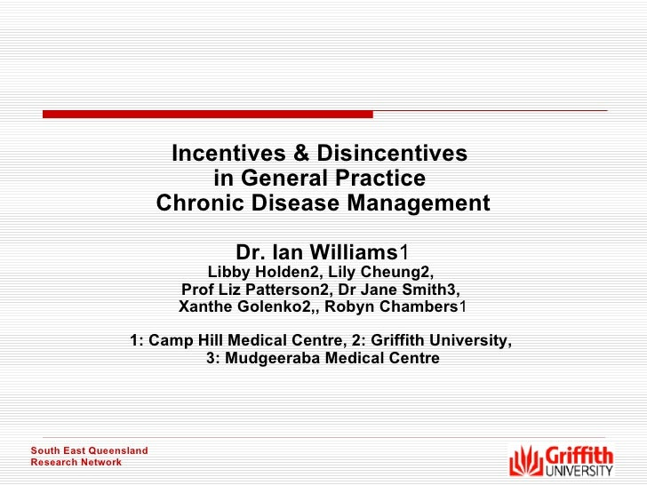 Incentives & Disincentives  in General Practice  Chronic Disease Management Dr. Ian Williams 1 Libby Holden2, Lily Cheung2...