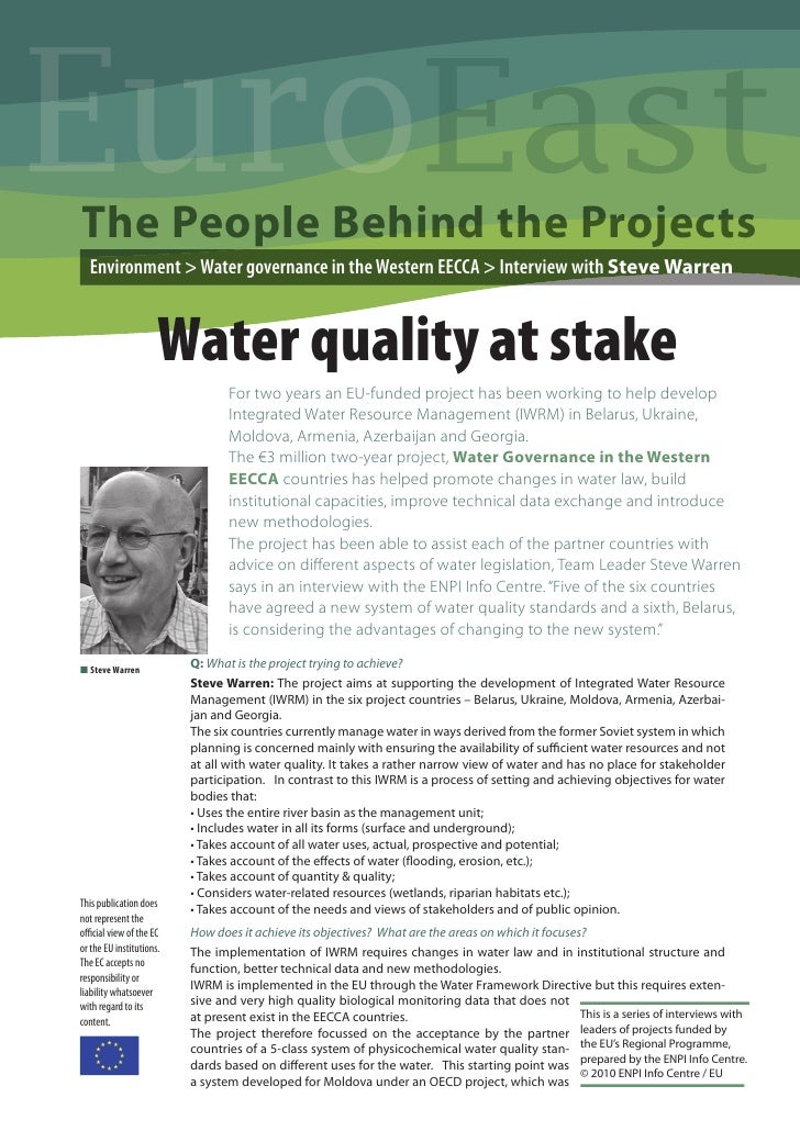 EuroThe People Behind the Projects  Environment > Water governance in the Western EECCA > Interview with Steve Warren     ...