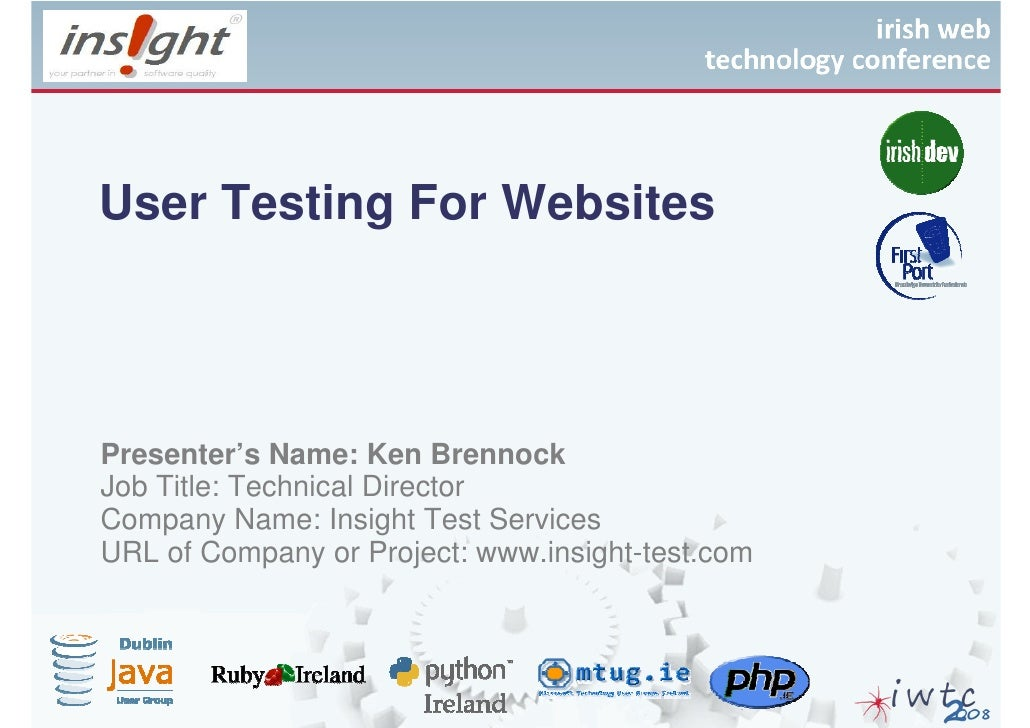 Irish Web Technologies Conference 2008 - Ken Brennock Web Based Testing