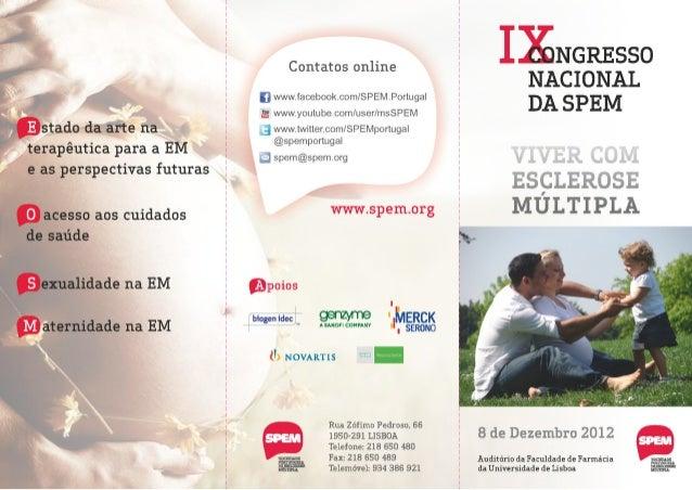 IX Congresso Nacional da SPEM - Viver com Esclerose Múltipla - 8 Dez 2012: Folheto com Programa