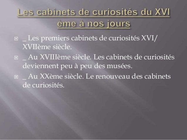  _ Les premiers cabinets de curiosités XVI/ XVIIème siècle.  _ Au XVIIIème siècle. Les cabinets de curiosités deviennent...