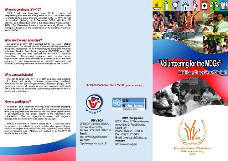 International Year of Volunteers 10th Anniversary Flyer