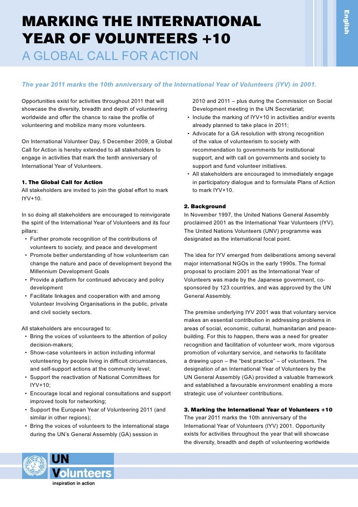 IYV+10 Global Call for Action