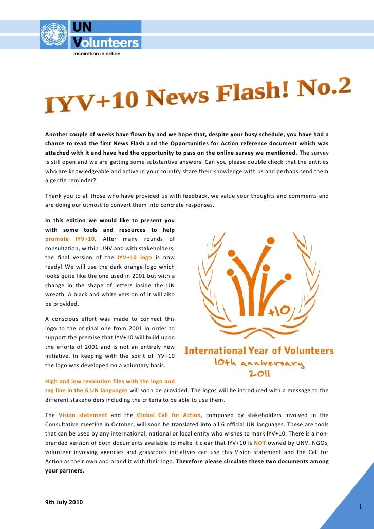 IYV+10 News Flash No.2