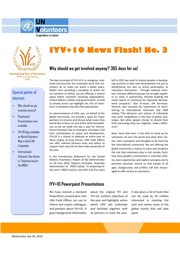 IYV+10 News Flash! No. 3                              Why should we get involved anyway? 365 days for us!                 ...