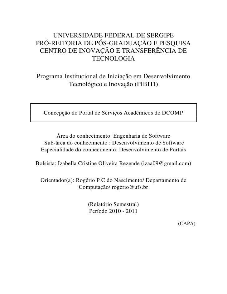 Relatório Semestral PIBITIVOL 2011 - Izabella Rezende