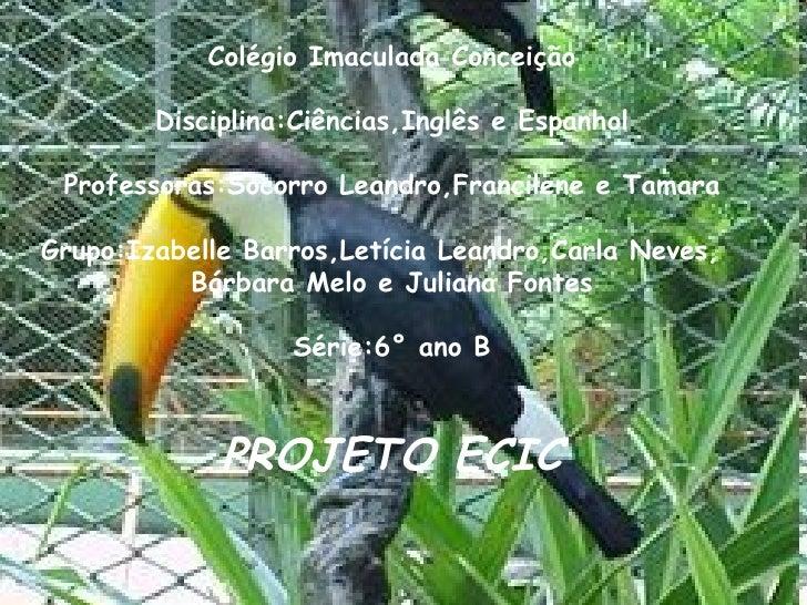 Colégio Imaculada Conceição Disciplina:Ciências,Inglês e Espanhol Professoras:Socorro Leandro,Francilene e Tamara Grupo:Iz...