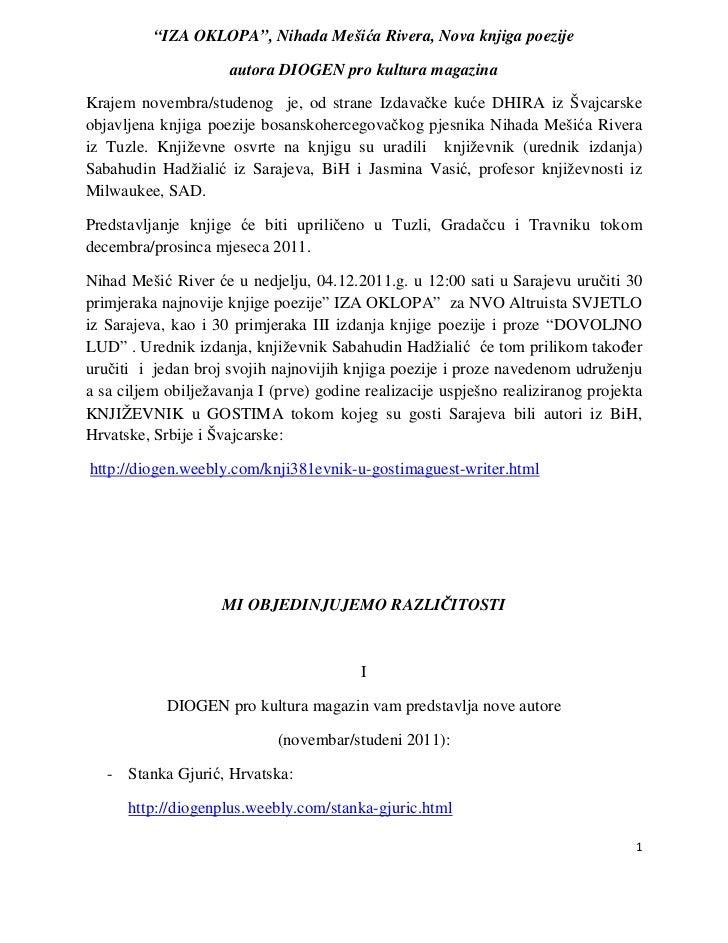 """""""IZA OKLOPA"""", Nihada Mešića Rivera, Nova knjiga poezije                     autora DIOGEN pro kultura magazinaKrajem novem..."""